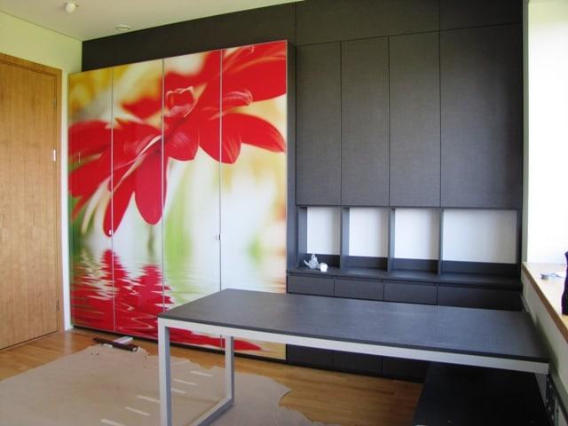 Decorated glass wardrobe