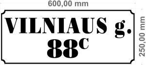 gatves pavadinimo lentele 650x250mm